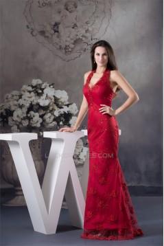 Trumpet/Mermaid Brush Sweep Train Long Red Beading Prom/Formal Evening Dresses 02020120