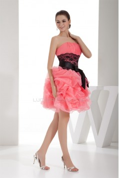 Ball Gown Strapless Lace Short/Mini Evening Party Cocktail Dresses 02021202