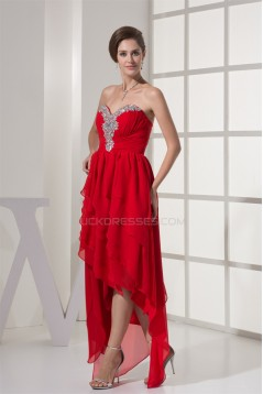 Beading Chiffon Sweetheart Short Red Prom/Formal Evening Dresses 02021204