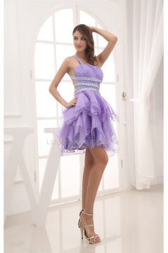 Short Beading One-Shoulder Satin Tulle Prom/Formal Evening Dresses 02021206