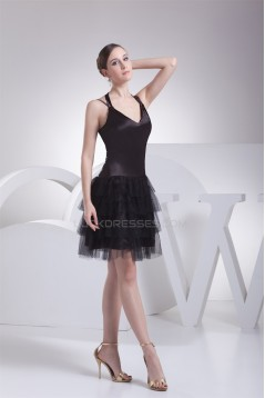 Sleeveless Halter Cascading Ruffles Knee-Length Little Black Dresses 02021209