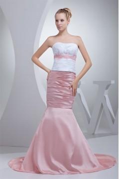 Trumpet/Mermaid Brush Sweep Train Beading Pink White Prom/Formal Evening Dresses 02020121