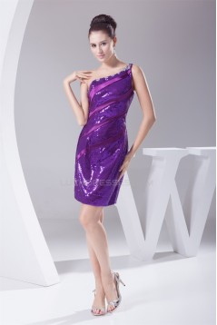 Sleeveless Purple Sequined Material One-Shoulder Evening Party Bridesmaid Dresses 02021210