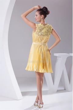 A-Line Lace Silk like Satin Straps Ruffles Evening Bridesmaid Dresses 02021211