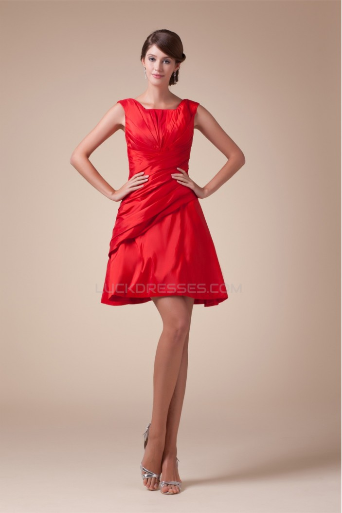 Sleeveless Ruffles Taffeta Straps Short/Mini Bridesmaid Dresses 02021215