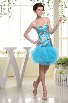 Sleeveless Satin Fine Netting Knee-Length Prom/Formal Evening Dresses 02021217