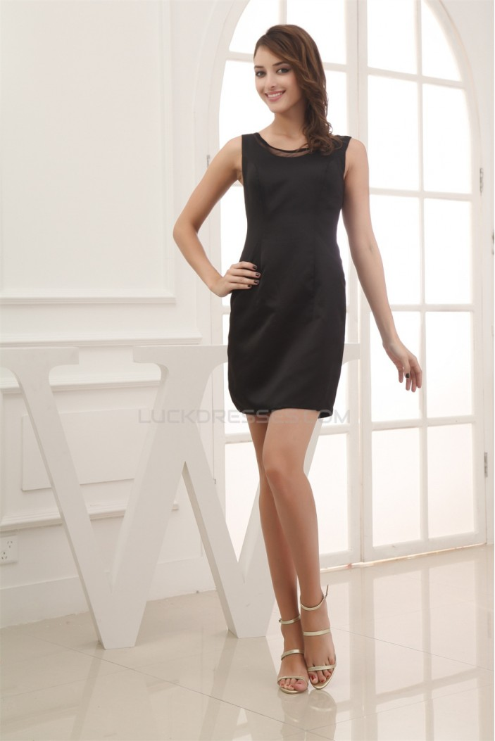 Sleeveless Scoop Sheath/Column Satin Short/Mini Prom/Formal Evening Dresses 02021220