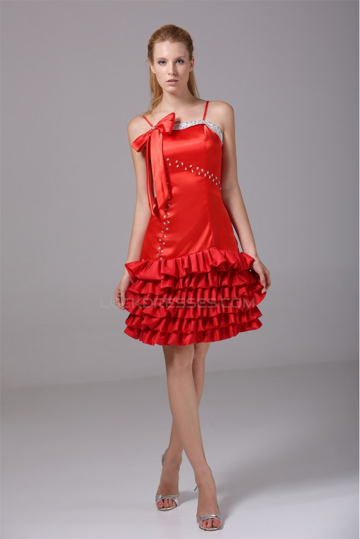 Sleeveless Short/Mini Beading Taffeta Silk like Satin Prom/Formal Evening Dresses 02021225