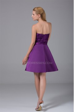 Sleeveless Silk like Satin A-Line Short/Mini Purple Prom/Formal Evening Bridesmaid Dresses 02021230