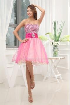 Sleeveless Soft Sweetheart A-Line Taffeta Silk like Satin Fine Netting Homecoming Dresses 02021231