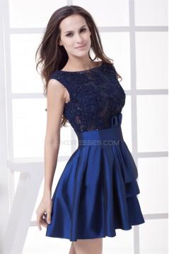 Sleeveless Taffeta Fine Netting Beading Appliques Short Evening Formal Bridesmaid Dresses 02021234
