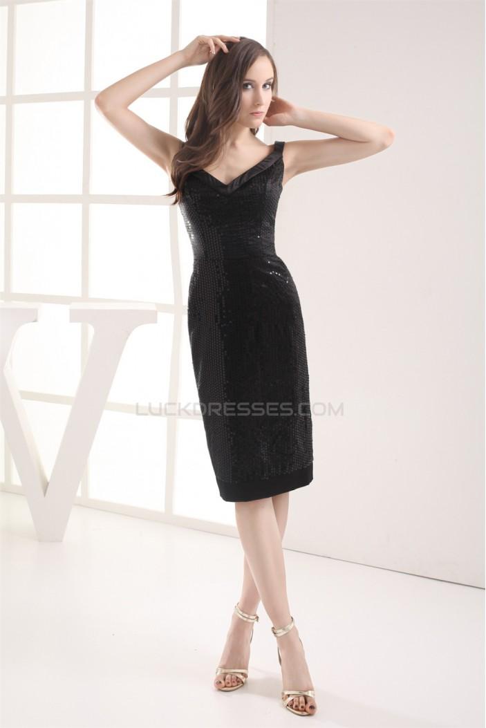 Sleeveless V-Neck Knee-Length Sheath/Column Prom/Formal Evening Dresses 02021236