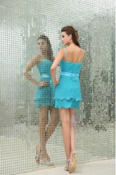 Spaghetti Straps A-Line Chiffon Pleated Short Blue Evening Party Bridesmaid Dresses 02021238