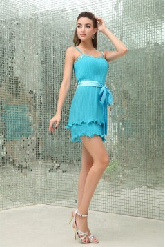 Spaghetti Straps A-Line Chiffon Pleated Short Blue Evening Party Bridesmaid Dresses 02021238