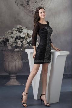 Square Ruffle Sheath/Column Short/Mini Lace Mother of the Bride Dresses 02021241
