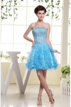 Strapless Beading A-Line Short/Mini Sleeveless Prom/Formal Evening Dresses 02021244