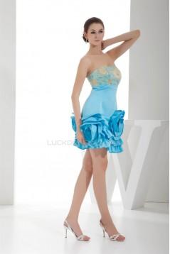 Strapless Pleats Knee-Length Sleeveless Prom/Formal Evening Dresses 02021245