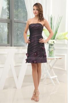 Strapless Short/Mini Nylon Taffeta Tulle Prom/Formal Evening Dresses 02021248