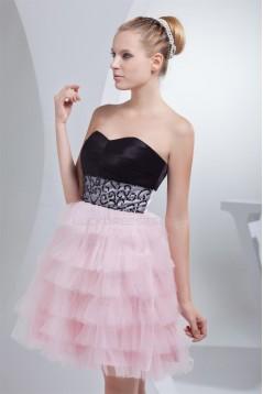 Strapless Short/Mini Sleeveless Satin Silk like Satin Fine Netting Prom/Formal Evening Dresses 02021249