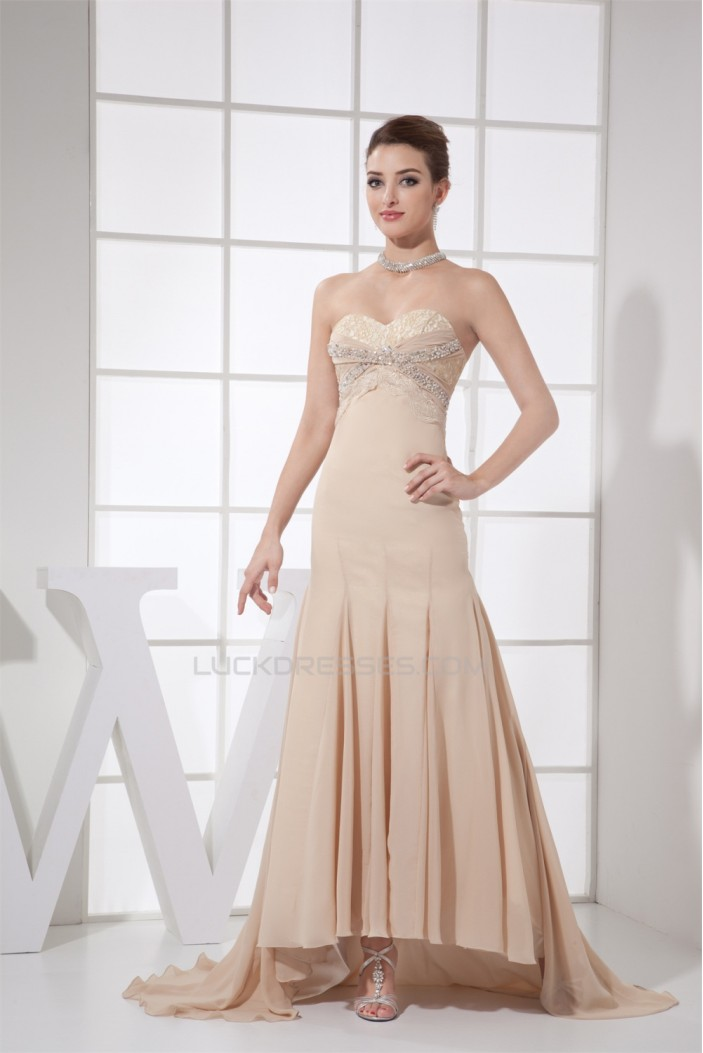 Brush Sweep Train Strapless Beading Lace and Chiffon Prom/Formal Evening Dresses 02020125