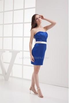 Strapless Silk like Satin Criss Cross Sleeveless Prom/Formal Evening Dresses 02021250