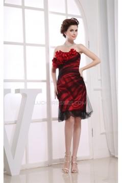 Strapless Silk like Satin Fine Netting Sleeveless Prom/Formal Evening Dresses 02021251
