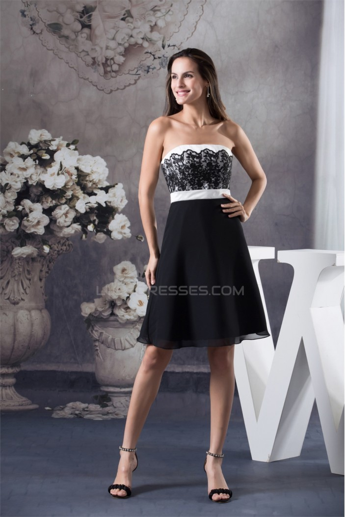 A-Line Strapless Sleeveless Short/Mini Chiffon Lace Black White Prom/Formal Evening Dresses 02021252