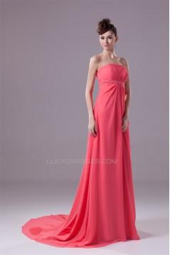 Empire Brush Sweep Train Strapless Sleeveless Prom/Formal Evening Maternity Dresses 02020126