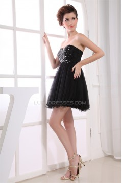 Sweetheart Short/Mini Beading Fine Netting Homecoming Dresses 02021260