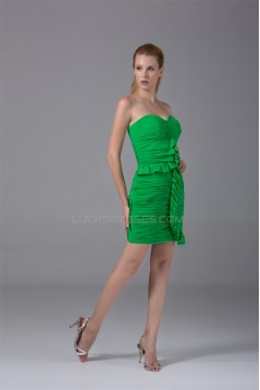 Sweetheart Short/Mini Satin Chiffon Pleats Evening Party Bridesmaid Dresses 02021261