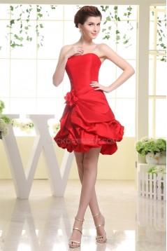Taffeta A-Line Short/Mini Handmade Flowers Prom/Formal Evening Dresses 02021267