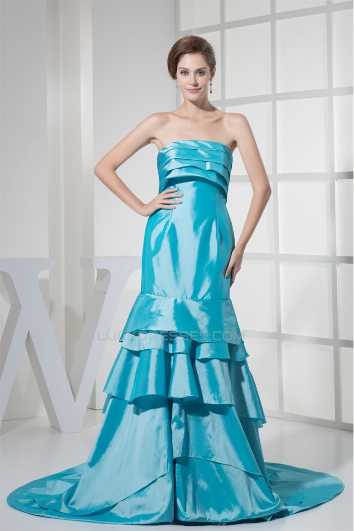 Trumpet/Mermaid Brush Sweep Train Taffeta Strapless Prom/Formal Evening Dresses 02020127