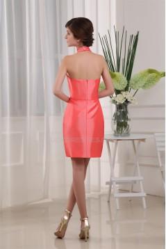Taffeta Sleeveless Halter Sheath/Column Bridesmaid Evening Dresses 02021270