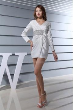 V-Neck Elastic Woven Satin Sheath/Column Prom/Formal Evening Dresses 02021272
