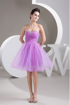 A-Line Fine Netting Sleeveless Short/Mini Prom/Formal Evening Dresses 02021278