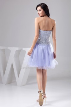 A-Line Knee-Length Beading Sweetheart Fine Netting Prom/Formal Evening Dresses 02021279