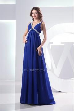 Empire Brush Sweep Train V-Neck Long Blue Chiffon Evening Formal Bridesmaid Maternity Dresses 02020128