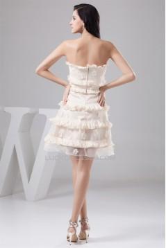 A-Line Sleeveless Knee-Length Taffeta Organza Silk like Satin Prom/Formal Evening Dresses 02021281