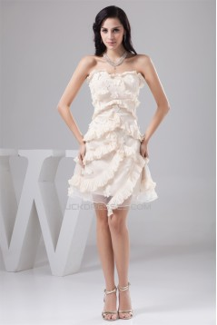 A-Line Sleeveless Knee-Length Taffeta Organza Silk like Satin Prom/Formal Evening Dresses 02021281