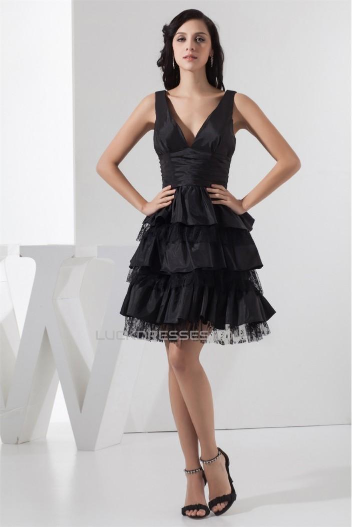 A-Line Sleeveless V-Neck Taffeta Lace Knee-Length Prom/Formal Evening Dresses 02021282