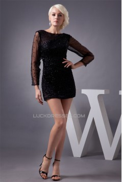 Amazing Long Sleeves Fine Netting Beading Bateau Little Black Dresses 02021283