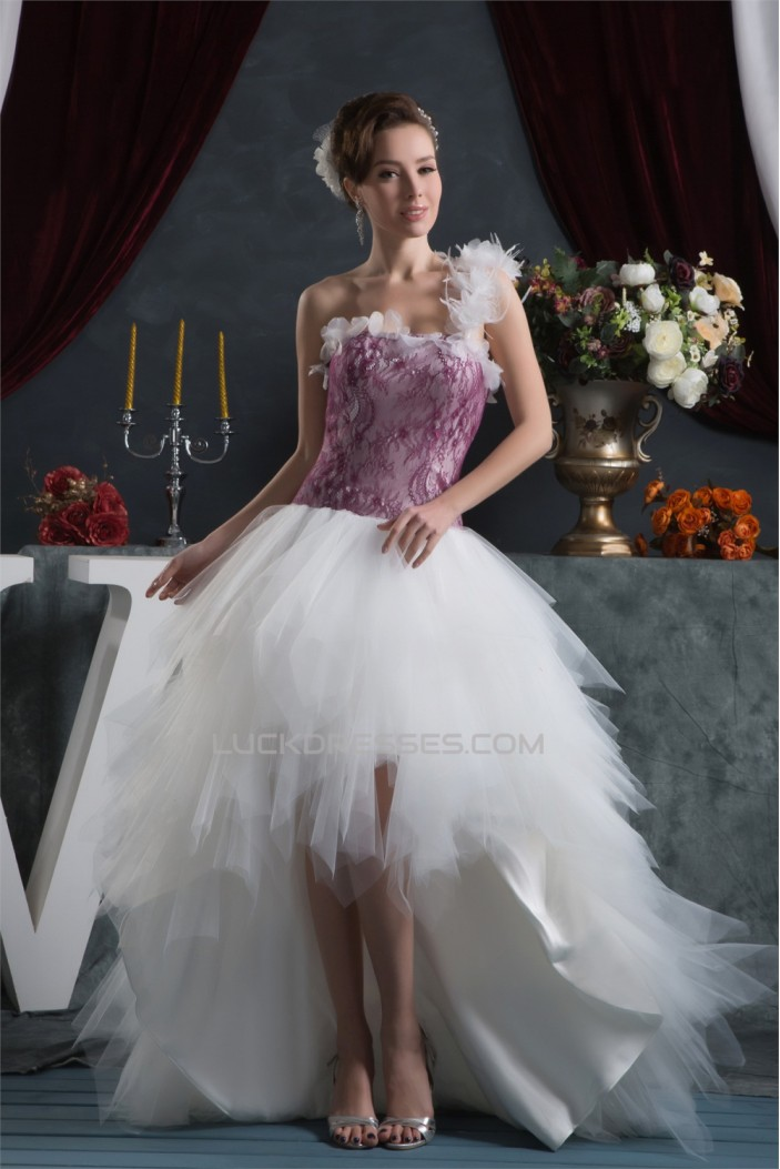 Asymmetrical High Low One-Shoulder Lace Tulle Prom/Formal Evening Dresses 02021285