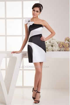 Beading One-Shoulder Sheath/Column Black White Satin Prom/Formal Evening Dresses 02021287