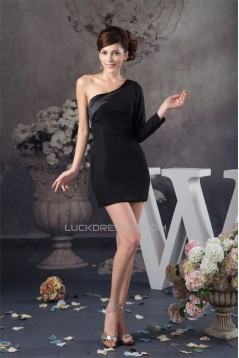 Beading One-Shoulder Sheath/Column Short/Mini Prom/Formal Evening Dresses 02021288