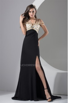 Brush Sweep Train V-Neck Beading A-Line Prom/Formal Evening Dresses 02020129