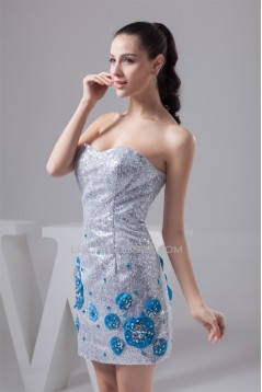 Beading Sheath/Column Sequins Silver Short Prom/Formal Evening Dresses 02021297