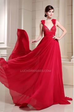 Beading V-Neck Brush Sweep Train Long Red Prom/Formal Evening Dresses 02020130