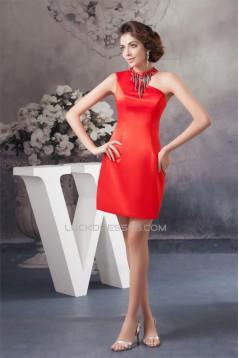 Beading Silk like Satin Sheath/Column Short Red Sleeveless Prom/Formal Evening Dresses 02021301
