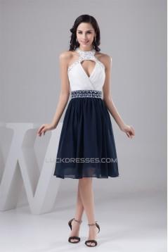 A-Line Halter Beading Sleeveless Knee-Length White Blue Prom/Formal Evening Dresses 02021302