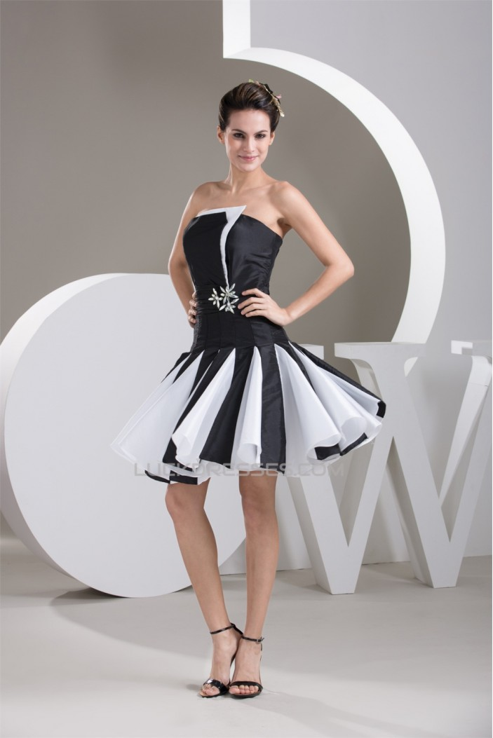 Beading Sleeveless Short/Mini Taffeta A-Line Prom/Formal Evening Dresses 02021304